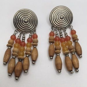 Vintage Wood and Metal Dangle Earrings